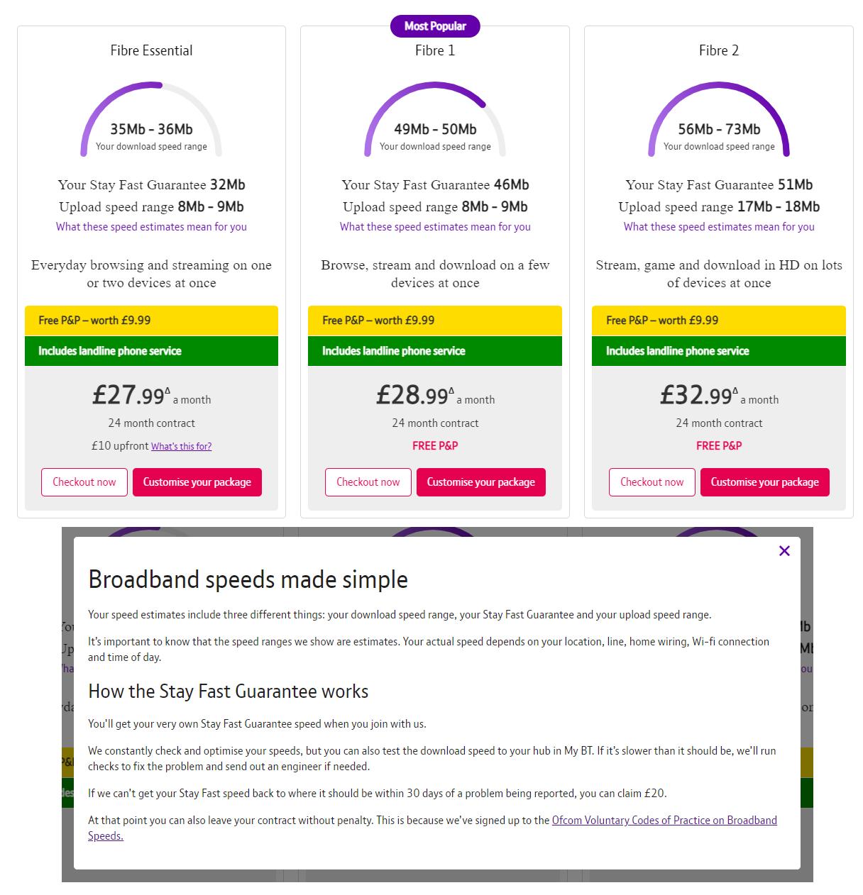Fig 1. BT Broadband Plans